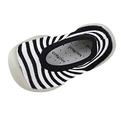 Mitlfuny Invierno Otoño Unisex Barco Calcetines de Piso Zapatos para Bebé Raya Punto de Onda Tejer Zapatillas Suela de Goma Blanda Antideslizantes Niños Niñas Calzado Recién Nacido Chicas 0-3 Años
