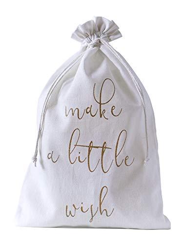 organzabeutel24 | 10 Baumwollsäckchen in Weiss, 100% Baumwolle, edle Geschenkverpackung mit Guten Wünschen für das ganze Jahr mit Make a Little Wish (40 x 30 cm)