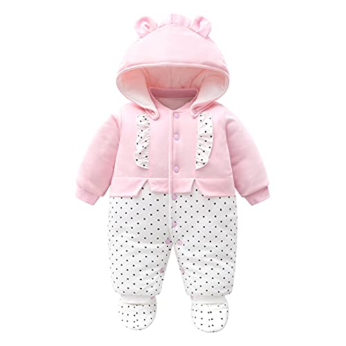 Baby Girls Snowsuit Romper Winter Outfits Cotton Detachable hat Hooded Footies Warm Long Sleeve Pink Cute Jumpsuit Gift for Newborn 3-6 Months