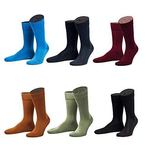 "von Jungfeld - bunte Herren Socken/Strümpfe, Business-Socke, 6er Pack ""Nifty Fifty"", orange, mintgrün, bordeaux, schwarz, blau, dunkelblau, Größe 39-41"
