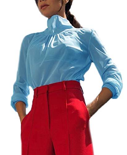 T-Shirt Top Damen Langarm Slim Fit Tshirt Rollkragenshirt Netz-Garn Sonnendurchlässiger T Shirts Oberteile Bluse Unifarben Unique Freizeit Oberteile Tee (Blau,S)
