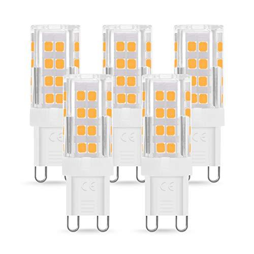 Bombilla LED G9 de 4W Equivalente a 40W Lampara Halógena, Blancas Cálidas(3000K), 400LM, No regulable, Sin parpadeo, Sin Estroboscópico, 360 Grados, lámpara g9 para iluminación del hogar, paquete de 5