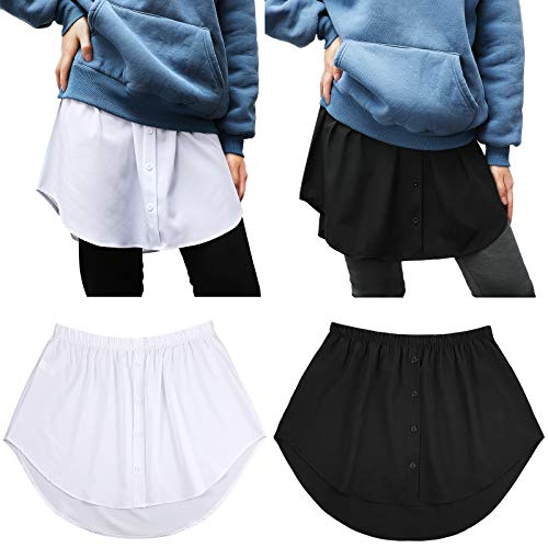 Blanco, L 2 Faldas Top Falsas de Capas Falda Falsa Dobladillo