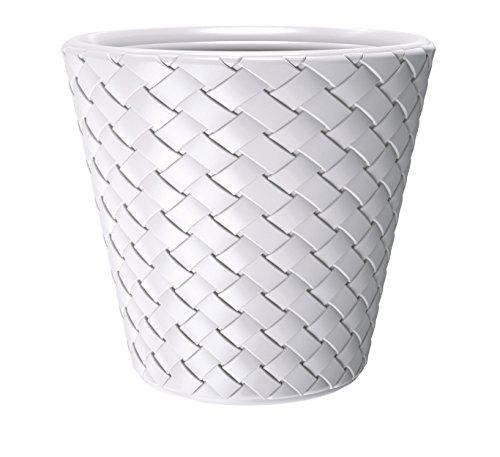 Kreher XXL Pflanzkübel mit 60 cm Durchmesser und 59 cm Höhe! Aus Kunststoff in Weiß in moderner Flecht-Optik. Als XXL Topf für Bäumchen, Gräser oder als Mini-Teich für Garten und Terrasse!