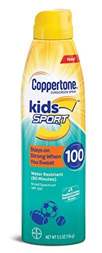 Coppertone - Protector solar para niños de amplio espectro, factor SPF 100, resistente al agua, en espray continuo (163 ml)