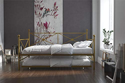DHP Lina Metal Daybed with Trundle, Full Size Sofa Bed Frame, Gold