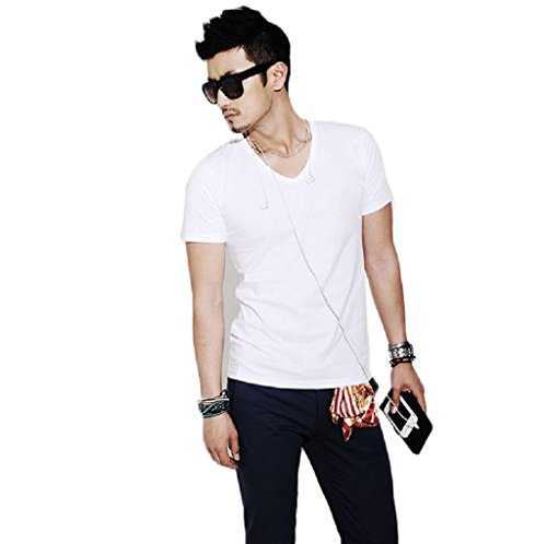 Tonsee® Fashion Hommes Slim Fit Coton v-Neck Short Manches Casual T-Shirt Tops Chaud (L, Nior)