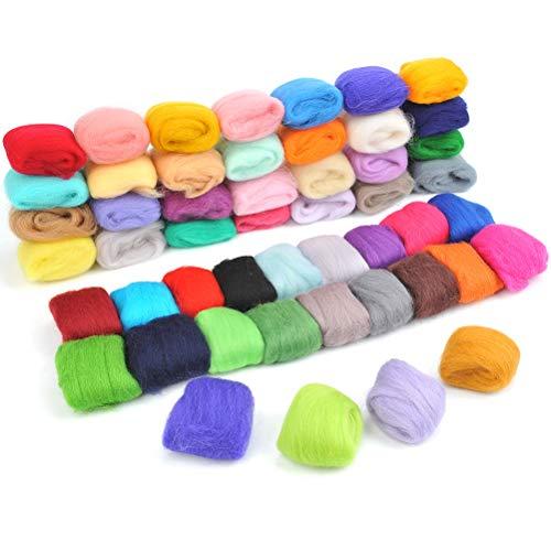 Juego de lana cardada, lana de fieltro, 50 colores, rollo de fieltro de lana multicolor para trabajos creativos y fieltrado de lana DIY a mano