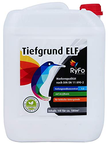 RyFo Colors Tiefgrund ELF 10l - hochwertiges Tiefengrund Konzentrat 1:3, Primer in Maler- und Handwerkerqualität, Haftgrund für innen und außen, Grundierung