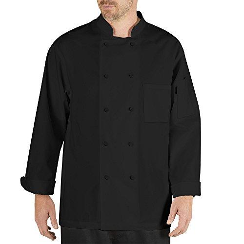 Chef Code Cool Breeze - Abrigo de chef con mangas largas y malla de ventilación - Negro - Large