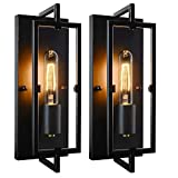 Set of 2 Industrial Wall Sconces Black Rustic Indoor Wall Lanterns with Glass Shade Vintage Bronze Wall Light Fixture with E26 Base Decor for Bedroom Living Room Hallway, Bulbs Included
