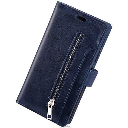 Herbests Compatibles con Huawei P30 Lite Funda con Tapa, Carcasa de Cuero Cremallera Multifunción Wallet Cover con 9 Ranuras para Tarjetas Estuche para Hombre Mujer Case,Azul Oscuro