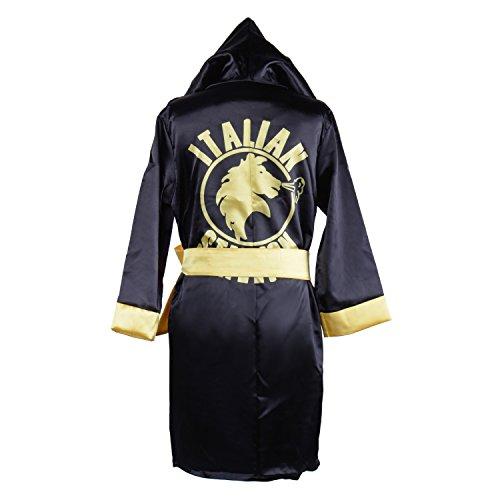 HUALIL Kids Rocky Balboa Black Boxing Costume Robe Shorts Boy Halloween Cosplay Suit (S)