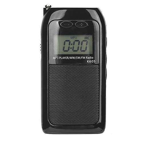 CUYT Radio portátil FM/SW/MW, Compatible con Tarjeta de Memoria Modo de reproducción de MP3 Mini sintonización Digital Radio Walkman FM Estéreo Alta sensibilidad Volumen pequeño Reproductor MP3
