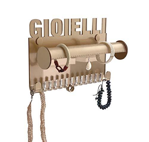Porta Gioielli da Parete Bijoux – Portaoggetti Collana galeara – Orecchini - Porta Collana da Parete Blanc Bracelet (Oro Rosso - Gioielli)