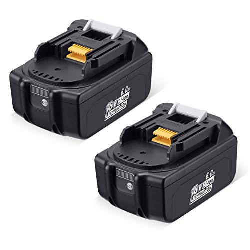 6000mAh 18Volts BL1860B Lithium Battery Replacement for Makita with LED Indicator Compatible with BL1850B BL1840B BL1830B BL1815B LXT-400-2 Pack