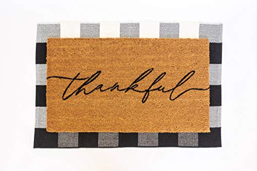 Layered Outdoor Thankful Mat Set - Coconut Coir (17-inch x 30-inch) and Woven Doormat (24-inch x 35-inch) Combo Inside or Outside Pet Friendly Rug for Entry Porch or Patio (Black and White Plaid)