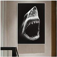 TUOJIEFAサメの動物の写真キャンバスの絵画リビングルームの寝室の壁の芸術の写真現代の装飾的な絵画-50x70cm.20x27inchフレームなし