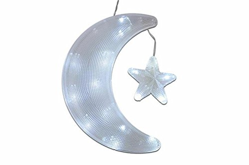 SSITG Fensterbild Mond mit Stern 20 LED weiß Weihnachten Weihnachts Deko Batterie (deutsche Lager 3-7 Tagen Lieferzeit)