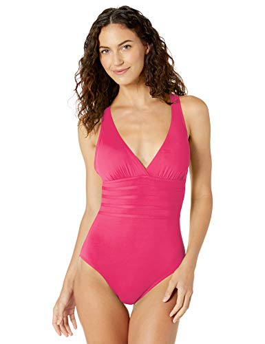 La Blanca Women's Plus Size Island Goddess Multi Strap Cross Back One Piece Swimsuit, Pink, 20W