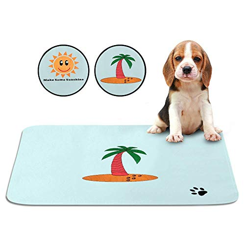 SKA Products Cute Washable Puppy Pee Pads | 8 Pack Sun, Palm Tree Designs | Large Super Absorbent Potty Mats | Dog Housebreaking, Pet Crate Training | Multi-Purpose Reusable Eco-Friendly | Whelping