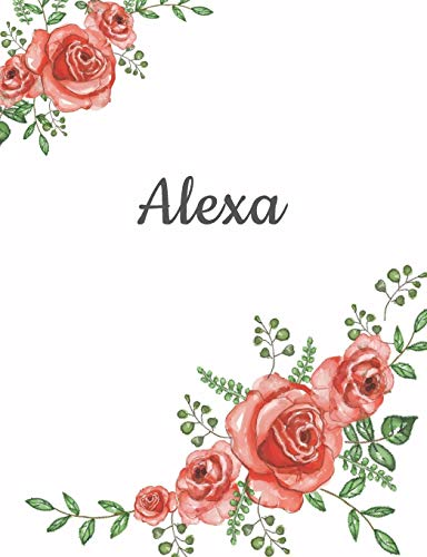 Alexa: Personalized Composition Notebook – Vintage Floral Pattern (Red Rose Blooms). College Ruled (Lined) Journal for School Notes, Diary, Journaling. Flowers Watercolor Art with Your Name