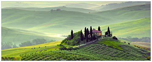 Wallario Glasbild Toskana in Italien - 50 x 125 cm in Premium-Qualität: Brillante Farben, freischwebende Optik