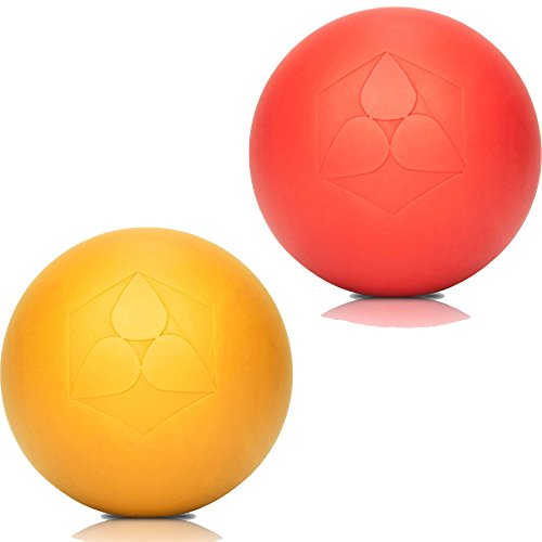#DoYourFitness 2X Lacrosse Bälle »Lio« (6cm Durchmesser) in vielen Farbkombination zur Massage von Triggerpunkten. Idealer Massageball/Massagerolle zur punktuellen Behandlung von Verspannung rot/gelb