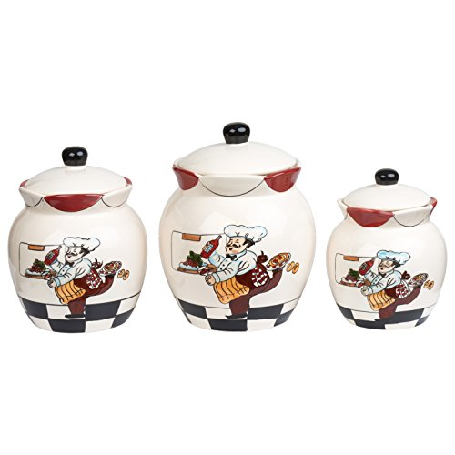 Lorren Home Trends Ceramic 3 Piece Deluxe Canister Set