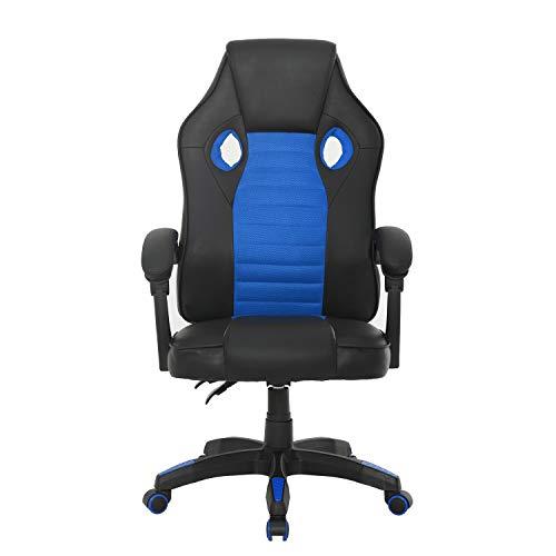 Muebles, Sedia da gaming, da ufficio, per computer, videoconferenza, design ergonomico, con braccioli e schienale alto, regolabile in altezza, con supporto lombare