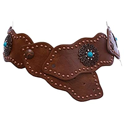 """3"""" (75 mm) Wide Link Turquoise Studded Leather Belt, Brown 