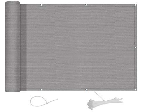 AXT SHADE Blickdichte Balkon sichtschutz 90x600cm HDPE, UV-Schutz Balkonabdeckung,Balkonverkleidung - mit Kabelbindern -Hellgrau