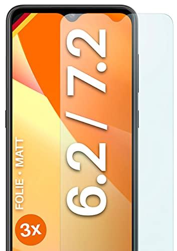 moex Schutzfolie matt kompatibel mit Nokia 6.2 / Nokia 7.2 - Folie gegen Reflexionen, Anti Reflex Bildschirmschutz, Matte Bildschirmfolie - 3X Stück