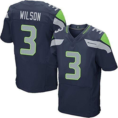 cjbaok NFL-Trikot Seattle Seahawks 3# Wilson 25# 31# Elite Edition Besticktes Fußballtrikot-T-Shirt Sport-Kurzarmshirt,Blue-3,L