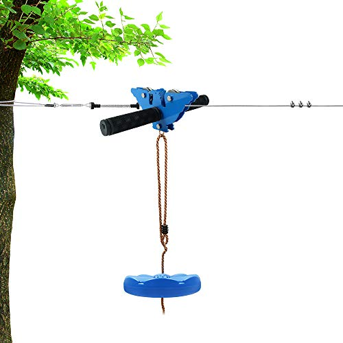 X XBEN Zip line Kits for Backyard 98FT, Zip Lines for Kid and Adult, Included Swing Seat, Ziplines Brake, and Steel Trolley, Outdoor Playground Equipment