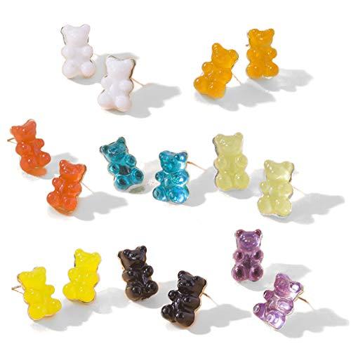 SHURROW 8 Pares de Pendientes de botón de Oso de Goma de Color Caramelo Dulce, Conjunto de Pendientes de Poste de Oso de Resina