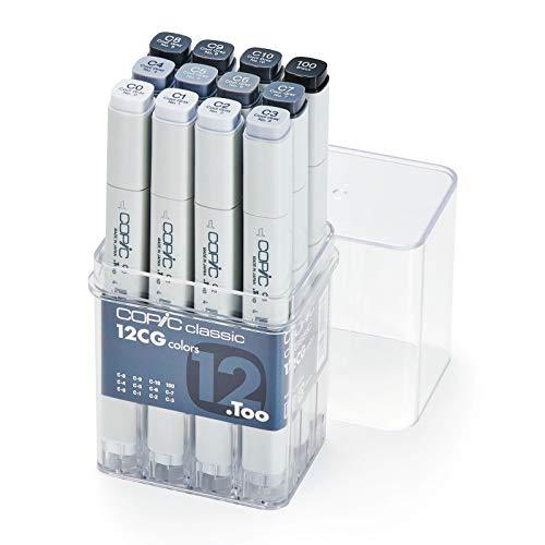 Copic CZ20075151 classic Marker CG 12-er Set C0, C1, C2, C3, C4, C5, C6, C7, C8, C9, C10, 100, grau