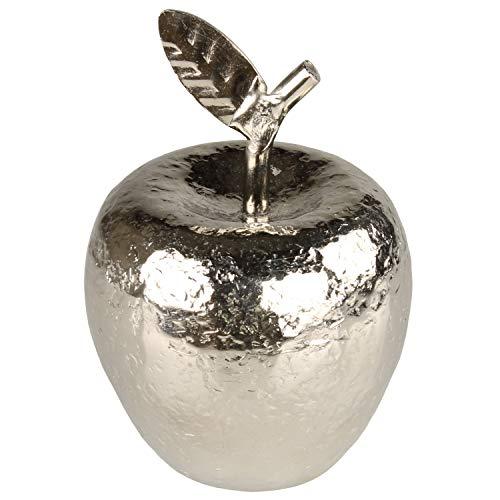 MACOSA EX236906 Deko-Apfel 12 cm hoch Aluminium Silber gehämmert künstliche Frucht Design-Skulptur Deko-Obst Moderne Dekofigur
