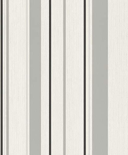 Rasch Tapeten (Grafisch) Weiß 10,05 m x 0,53 m #ROCKNROLLE 536256 Vliestapete, Grau, 10,05 x 0,53 m