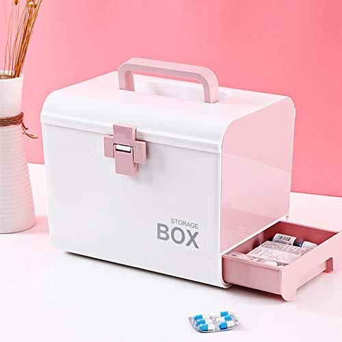 N / A Mehrschichtiges Erste-Hilfe-Kit Aufbewahrungsorganisator Medizinbox Tragbare medizinische Kits PP Kunststoffschublade Arzneimittelaufbewahrungsbox Truhe Startseite 26,5 * 22 * 18,5 cm