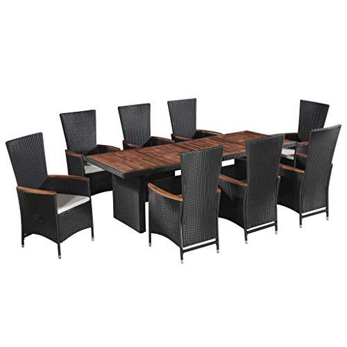 vidaXL Set Comedor de Jardín 9 Piezas Cojines Mesa y Sillas Exterior Patio Terraza Conjunto Muebles de Reunión Familiar Ratán Sintético Negro