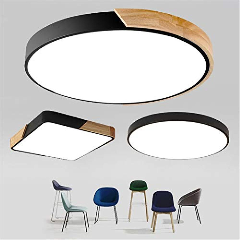 Ultradünne LED-Deckenleuchte Moderne Deckenleuchte Oberflchenmontage Flush Panel Fernbedienung Licht Warm Weiß Wood Round Weiß 230mm