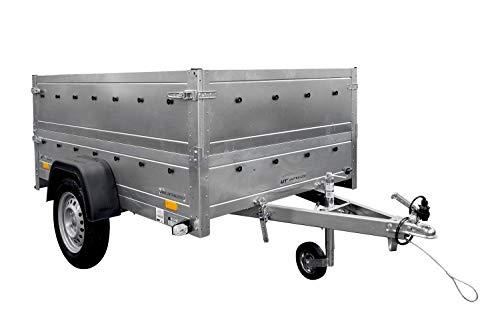 UNITRAILER Remorque de Voiture Garden Trailer 201 Kipp 500 kg 200 x 125 cm avec rehausses de ridelles et Roue Jockey