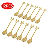 Gold Leaf Coffee Spoon Soup Spoons Sugar Spoons, Ice-Cream Tea Stirring Spoons 4.8 Inches Retro Dessert Demitasse Espresso Spoons Cutlery Kitchen Tableware-Set of 12