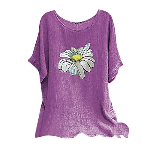 Amazing Deal Toimothcn Tunic for Woman, Ladies Vintage Cotton Tunic Tops O-Neck Short Sleeve Floral ...