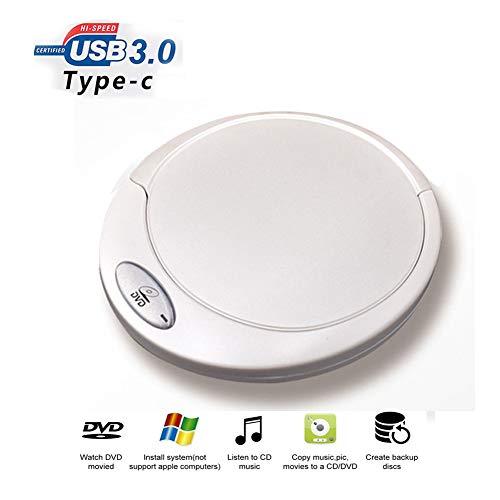 SFR External DVD Drive, for Laptop CD DVD ROM Burner USB 3.0 Type-C Portable CD/DVD±RW Drive/DVD Player Compatible with Laptop Desktop Windows Apple Mac high-Speed Silent Ultra-Thin-White