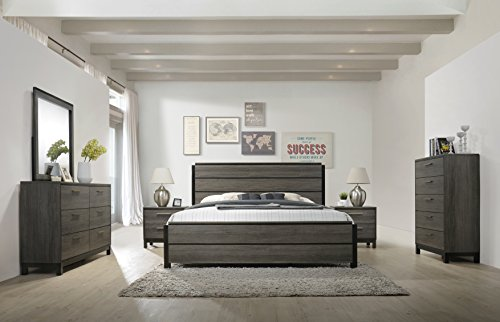 Roundhill Furniture Ioana 187 Antique Grey Finish Wood Bed Room Set, King Size Bed, Dresser, Mirror, 2 Night Stands, Chest