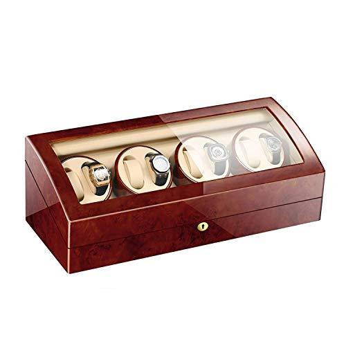 CCAN Enrollador de Relojes 8 + 9, con Pilas, silencioso, Relojes de Madera, enrolladores, Caja de presentación, Caja de Almacenamiento, marrón