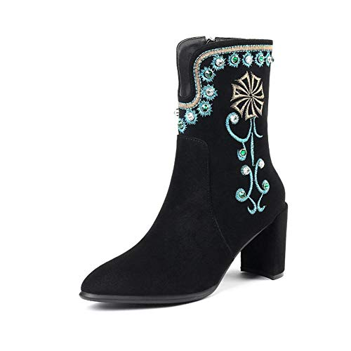 YaXuan Women's Booties, Fall/Winter Tide Flow Personality Fashion Boots,Ladies National Wind Boots, Dress Shoes, Martins Boots, Christmas Shoes Party & Evening (Color : Black, Size : 33)