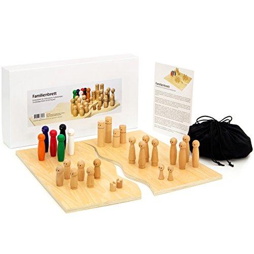 Purovi Familienbrett | Systembrett aus hochwertigem Holz für Familienaufstellung und Coaching | 32 Teile inkl. Aufbewahrungsbox